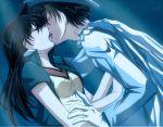 1girl black_hair cape couple detective_conan french_kiss gloves hat kaito_kid kiss long_hair md5_mismatch mouri_ran short_hair tongue white_gloves