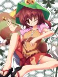 1girl absurdres animal_ears bell bloomers blouse bottle breasts brown_eyes brown_hair butterfly_sitting futatsuiwa_mamizou geta glasses hat hat_ribbon highres jingle_bell knee_up leaf leaf_on_head light_smile liya maple_leaf no_socks notepad open_hand pipe raccoon_ears raccoon_tail ribbon seigaiha semi-rimless_glasses shawl short_hair side_ponytail simple_background skirt sleeveless sleeveless_shirt solo tail touhou under-rim_glasses underwear white_background wink