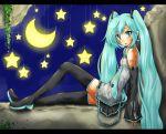 aqua_eyes aqua_hair blush detached_sleeves hatsune_miku kadomaki_shinnosuke moon nail_polish necktie solo star thigh-highs thighhighs twintails vocaloid