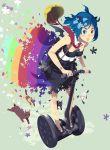 blue_hair cat flower helmet highres jpeg_artifacts open_mouth original rainbow segway solo vofan