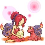 1girl closed_eyes egg fire hair_ribbon hitec magcargo moemon open_mouth personification pokemon pokemon_(creature) pokemon_(game) pokemon_gsc red_hair redhead ribbon shell sitting smile wariza yellow_eyes