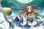 bow brown_hair chain cloud clouds hair_bow hair_ribbon horns ibuki_suika moon red_eyes ribbon solo touhou yoshino_ryou