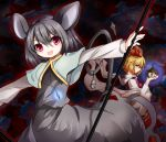 absurdres animal_ears blonde_hair grey_hair hair_ornament highres jeweled_pagoda jewelry kaze_yetworldview mouse mouse_ears mouse_tail multiple_girls nazrin pendant polearm red_eyes shawl short_hair spear tail toramaru_shou touhou weapon yellow_eyes