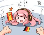 2010_fifa_world_cup @shton anger_vein blush_stickers flag germany headphones megurine_luka parody paul_the_octopus pink_hair spain takoluka teardrop tentacles translated translation_request vocaloid world_cup