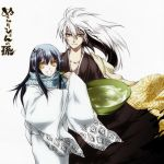 1girl chimao japanese_clothes long_hair lowres male nura_rikuo nurarihyon_no_mago open_mouth ringed_eyes scarf yellow_eyes yuki_onna_(nurarihyon_no_mago)