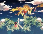 black_hair blonde_hair bow braid broom cloud clouds detached_sleeves giantess hair_bow hakurei_reimu hat kirisame_marisa multiple_girls shippo_(skink) skink sky touhou tree witch_hat yellow_eyes