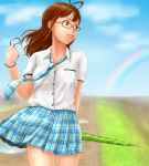 antenna_hair face glasses idolmaster kenbou necktie rainbow rough_time_school skirt solo