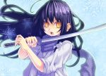 japanese_clothes katana long_hair nurarihyon_no_mago open_mouth purple_hair ringed_eyes scarf solo striped striped_scarf sword w-field weapon yellow_eyes yuki_onna_(nurarihyon_no_mago)