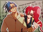 1girl bad_id blue_hair couple grin jewelry kamina long_hair naritama_saty pieces_of_sweet_stars red_hair redhead ring smile sunglasses tengen_toppa_gurren_lagann v wink yoko_littner