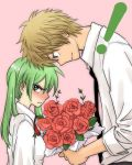 1girl adult age_difference blush bouquet couple flower green_eyes green_hair head_to_head height_difference jpeg_artifacts koiwai_yotsuba necktie neko_yuuko pink_background rose simple_background tsundere twintails yanda yotsubato!