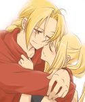 1girl blonde_hair bloom couple edward_elric fullmetal_alchemist happy hug neko_yuuko smile winry_rockbell