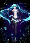 absurdres aqua_hair barefoot bridal_gauntlets closed_eyes flower glowing hatsune_miku hatsune_miku_(append) highres long_hair lying miku_append nail_polish nana_mikoto navel neon_trim solo thigh-highs thighhighs twintails very_long_hair vocaloid vocaloid_append water
