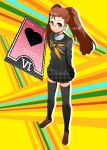 1girl a-1_pictures atlus bad_id bandai bespectacled blush brown_hair card cosplay crossover deep_silver floating_card glasses hair_up idolmaster kugimiya_rie kujikawa_rise kujikawa_rise_(cosplay) legs long_hair megami_tensei minase_iori namco ookami_maito persona persona_4 school_uniform seiyuu_connection smile tarot thigh-highs thighhighs tokyo_mx twintails zettai_ryouiki