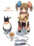 bird blue_eyes breasts brown_hair cleavage highres nail_polish navel original penguin penguin_caee plaid plaid_skirt playing_games playstation_3 shrimp skirt solo thigh-highs thighhighs twintails