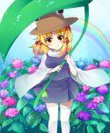 eyes flower hat highres hydrangea leaf leaf_umbrella moriya_suwako neko-san_(artist) neko-san_(dim.dream) rainbow solo thigh-highs thighhighs touhou white_legwear yellow_eyes
