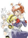 aegis android armband blonde_hair blush breast_pillow female_protagonist_(persona_3) hug persona persona_3 persona_3_portable red_hair sanada_akihiko sanpatisiki school_uniform translated yuri