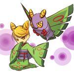 1girl blonde_hair dustox hitec japanese_clothes kimono moemon personification pokemon pokemon_(creature) pokemon_(game) pokemon_rse short_hair yellow_eyes