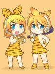 beans child club hair_ornament hairclip headset kagamine_len kagamine_rin kanabo kanabou masu muhyowo setsubun siblings tiger_print twins vocaloid weapon