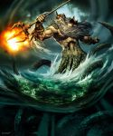 >:( angry beard bracelet clenched_hand cloud coral crown facial_hair genzoman giant glowing god gold greek greek_mythology jewelry magic male manly muscle mythology navel neptune ocean original polearm poseidon seaweed sky splash squid storm teeth tentacles trident underwater wading water water_droplets weapon wet