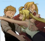 ahoge alphonse_elric arakawa_hiromu bishounen blonde_hair coat crying edward_elric female full_metal_alchemist fullmetal_alchemist fullmetal_alchemist_brotherhood group happy hood hoodie hug long_hair male ponytail short_hair smile tears winry_rockbell