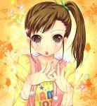 brown_hair flower futami_mami idolmaster idolmaster_2 mitsumomo_mamu nail_polish side_ponytail solo