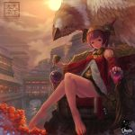 barefoot chinese cityscape cup dragon_nest east_asian_architecture feet flower griffin gryphon hat highres jewelry legs red_eyes river rose short_hair sitting throne