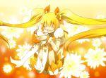 blonde_hair boots cure_sunshine daisy dress flower futari_wa_precure heartcatch_precure! magical_girl myoudouin_itsuki orange_(color) orange_background potpourri_(heartcatch_precure!) potpurri precure satsu sitting twintails yellow_dress