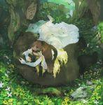 barefoot bear blonde_hair blue_eyes bridal_gauntlets bridal_veil bride couple dress flower forest hat lying mayday nature original skull solo tree veil wedding_dress white_dress