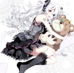 black_legwear boxcutter eyepatch frilled_kneehighs hatsune_miku headphones highres kneehighs long_hair lying no_more on_side red_eyes socks solo stitches stuffed_animal stuffed_toy teddy_bear tsumi_to_batsu_(vocaloid) twintails very_long_hair vocaloid white_hair
