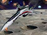 battle crater damaged earth explosion fire henry_gilliam macross macross_frontier mala mecha moon planet realistic s.m.s. saotome_alto space star vf-25