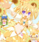 alternate_costume belly blonde_hair blue_eyes bow cosplay coupe cure_sunshine cure_sunshine_(cosplay) dress futari_wa_precure hair_bow heartcatch_precure! luna_child magical_girl marimo_(artist) midriff multiple_girls navel open_mouth outstretched_arms potpourri_(heartcatch_precure!) potpurri precure spread_arms star_sapphire sunny_milk sweatdrop touhou twintails yellow yellow_background yellow_dress