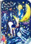 arakawa_under_the_bridge belt blonde_hair blue_eyes blue_hair bubble crab crossdressing dress_shirt english fish fishing fishing_rod highres hoshi_(arakawa) ichinomiya_kou jellyfish kappa kappa_(arakawa) kappa_arakawa long_hair mask mermaid monster_girl moon mosako necktie nino_(arakawa) shell shell_bikini shirt shoes shorts star starfish track_jacket underwater uwabaki water