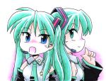 bare_shoulders blue_eyes blush cosplay detached_sleeves frills green_eyes green_hair hatsune_miku hatsune_miku_(cosplay) headset hiiragi_kagami long_hair lucky_star microphone multiple_girls necktie norio norio_(459factory) open_mouth pointing profile simple_background smile traditional_media tsurime twintails vocaloid