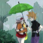 1boy 1girl bream-tan brown_hair charmander hat leaf_(pokemon) ookido_green ookido_green_(frlg) pokemon pokemon_(creature) pokemon_(game) pokemon_firered_and_leafgreen pokemon_frlg pokemon_rgby porkpie_hat rain skirt umbrella