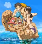 ^_^ abs angry antlers ass back barefoot bikini black_hair blue_hair bracelet breasts carrying closed_eyes feet feet_in_water franky hat holding jewelry lipstick monkey_d_luffy muscle nico_robin one_piece open_mouth outdoors scar short_hair shoulder_carry side-tie_bikini sideboob sideburns sitting sitting_on_arm smile soaking_feet straw_hat sunglasses sunglasses_on_head swim_trunks swimsuit teeth tony_tony_chopper top_hat wading water wet