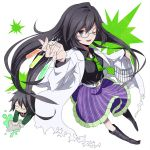black_hair boots chibi foreshortening glasses grey_eyes hands labcoat long_hair necktie open_mouth original skirt solo test_tube waxwa wink