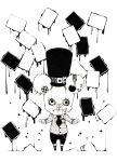 bear hat highres monochrome necktie screw stitches tokai_kuma zipper
