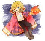 blonde_hair blue_eyes calcifer cape chibi earrings ghibli howl howl_no_ugoku_shiro jewelry male miyako_(xxxbibit) myk pendant solo studio_ghibli wink