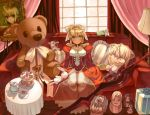 aestus_estus bersercar berserker cake couch cup elesia epaulettes fate/extra fate/stay_night fate_(series) food hair_intakes illyasviel_von_einzbern michael_roa_valdamjong muffin nekoarc saber_extra sasaki_shounen solo stuffed_animal stuffed_toy sword teacup teddy_bear weapon