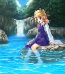 duplicate eyes feet_in_water green_eyes hat moriya_suwako satori satori_(transient_wind) short_hair smile soaking_feet solo touhou water waterfall