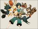 1boy blue_hair gym_leader hayato_(pokemon) hoothoot japanese_clothes murkrow pidgeotto pokemon pokemon_(creature) pokemon_(game) pokemon_gsc staravia taillow tears wingull yuuichi yuuichi_(bobobo)