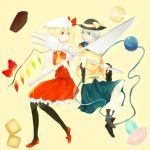 artist_request bad_id black_legwear black_pantyhose blonde_hair boots bow cake flandre_scarlet food fork fruit green_eyes hat heart holding holding_fork knife komeiji_koishi multiple_girls necktie open_mouth oversized_object pantyhose pastry ponytail red_eyes rikyuu short_hair side_ponytail silver_hair skirt smile strawberry touhou white_legwear white_pantyhose wings