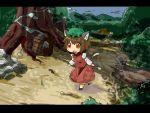 brown_hair cat_ears cat_tail chen hat mori_shin_risuku multiple_tails red_eyes short_hair tail touhou