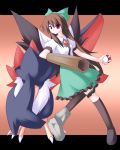 arm_cannon bow brown_hair cape crossover hair_bow honchkrow kneehighs long_hair miyo_(miyomiyo01) poke_ball pokemon red_eyes reiuji_utsuho socks touhou weapon wings