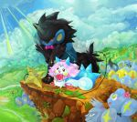 clothed_pokemon cloud clouds couple dajaraa happy luxio luxray nature no_humans pachirisu pokemon shinx shiny_pokemon sun wedding