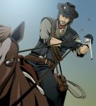 beard belt cartridge cowboy cowboy_hat facial_hair genmaipudding gloves gun handgun hat horse john_marston lasso male red_dead_redemption reloading revolver scar scarf straddle vest weapon western