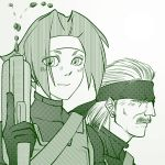 crossover gun headband metal_gear_solid monochrome old_snake rival_schools wakaba_hinata weapon