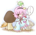 blush chibi eyeball hairband heart komeiji_satori minigirl mushroom patches pink_hair red_eyes short_hair sleeves_past_wrists solo sweatdrop takarami_(artist) touhou wide_sleeves wink