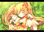 blonde_hair chiruku closed_eyes cure_sunshine futari_wa_precure grass green_background heart heartcatch_precure! letterboxed long_hair lying magical_girl myoudouin_itsuki potpourri_(heartcatch_precure!) potpurri precure sleeping smile twintails