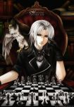 adjusting_glasses albino bird bird_on_shoulder book chess formal glasses mabinogi male red_eyes rimless_glasses silver_hair sitting solo syncaidia
